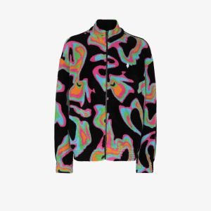 Marcelo Burlon County Of Milan Mens Multicolour Psych Printed Fleece Track Jacket