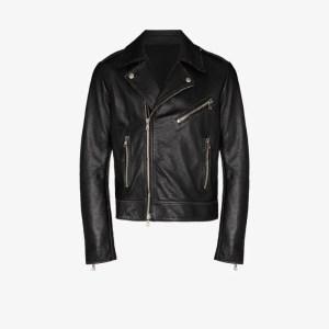 Balmain Mens Black Logo Biker Jacket