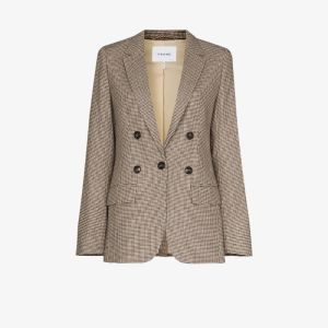 Frame Womens Brown Houndstooth Double-breasted Blazer