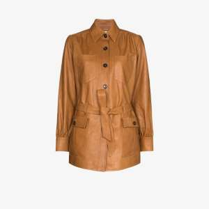 Frame Womens Brown Safari Leather Jacket
