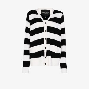The Marc Jacobs Womens Black Grunge Striped Wool Cardigan
