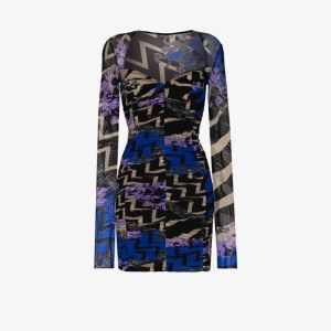 Emilio Pucci Womens Black Printed Mesh Bodycon Mini Dress