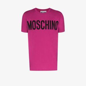 Moschino Mens Pink Logo Print T-shirt