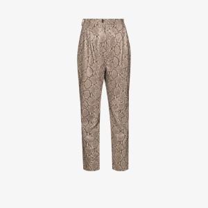 Magda Butrym Womens Grey Snake Print Leather Trousers