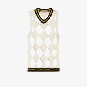 Stefan Cooke Mens White Diamond Knitted Wool Vest