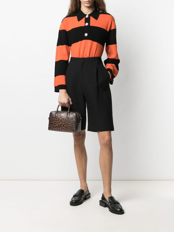 Image 2 of GANNI horizontal-stripe knitted polo top