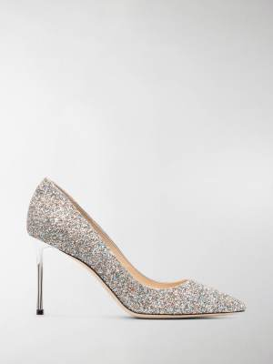 Jimmy Choo 85 mm glitter-effect ballerina pumps