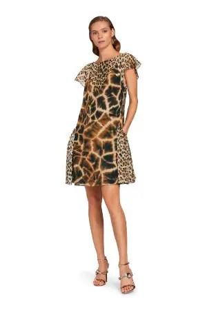 Abito in seta con stampe Leopard e Giraffe