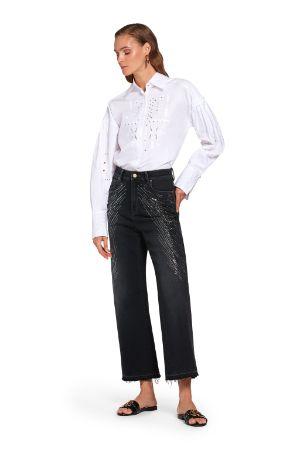 Jeans coulotte con cristalli
