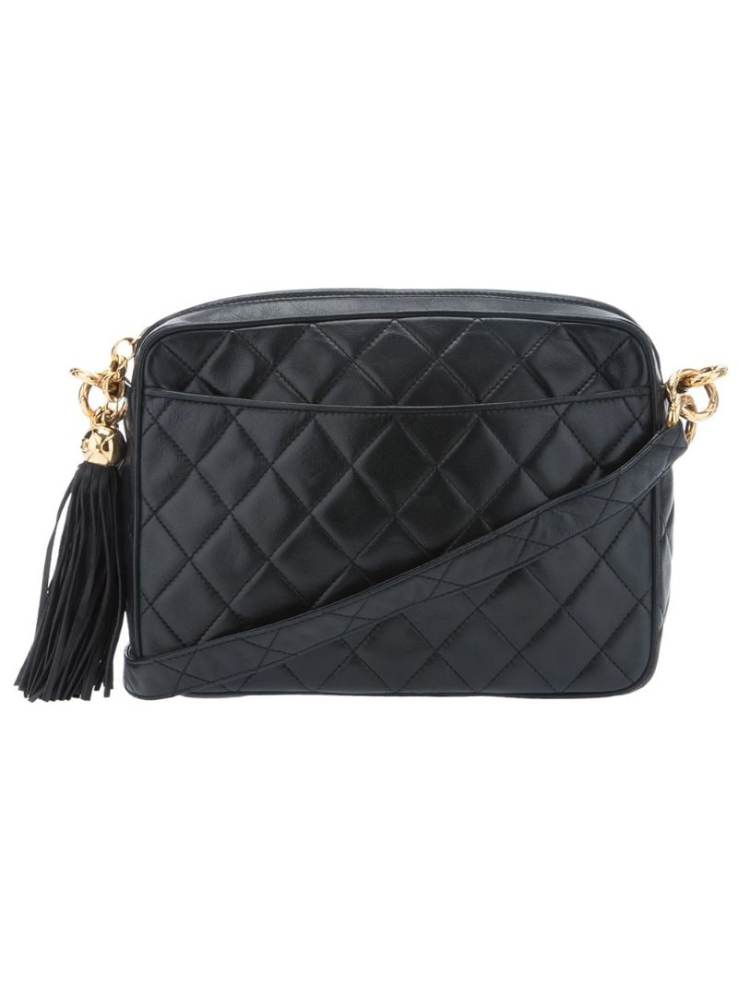 black VINTAGE tassel Chanel quilted bag