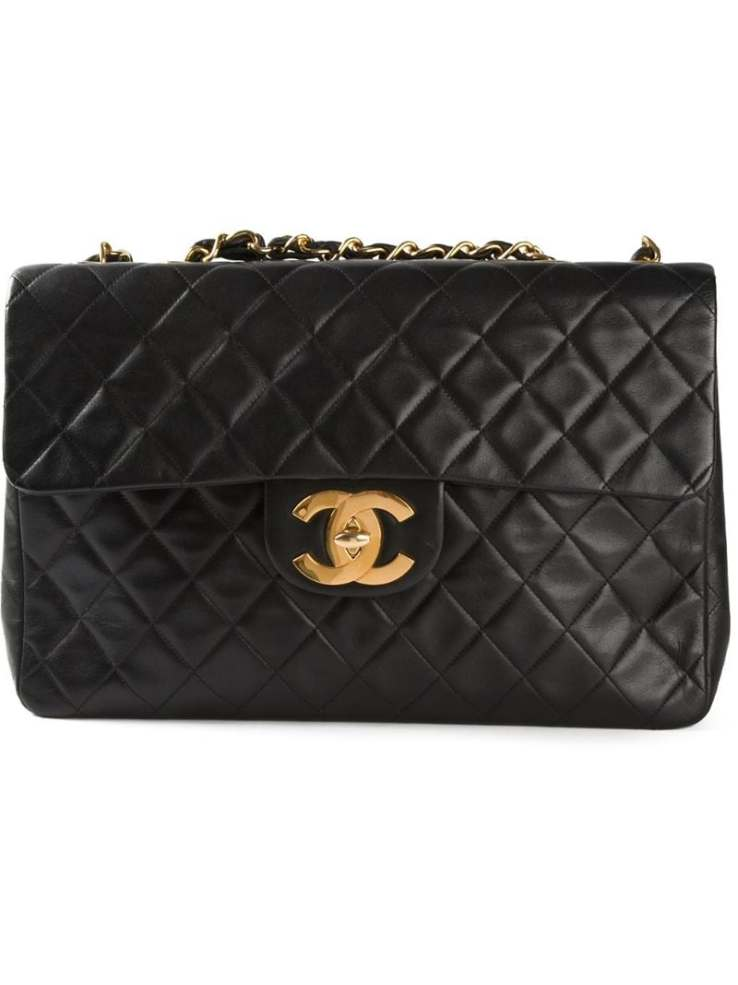 CHANEL VINTAGE black jumbo XL classic flap shoulder bag