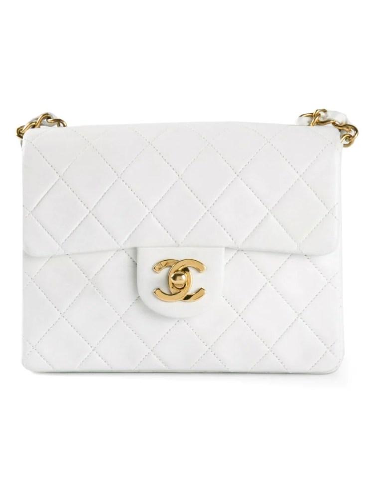CHANEL VINTAGE white mini half flap bag