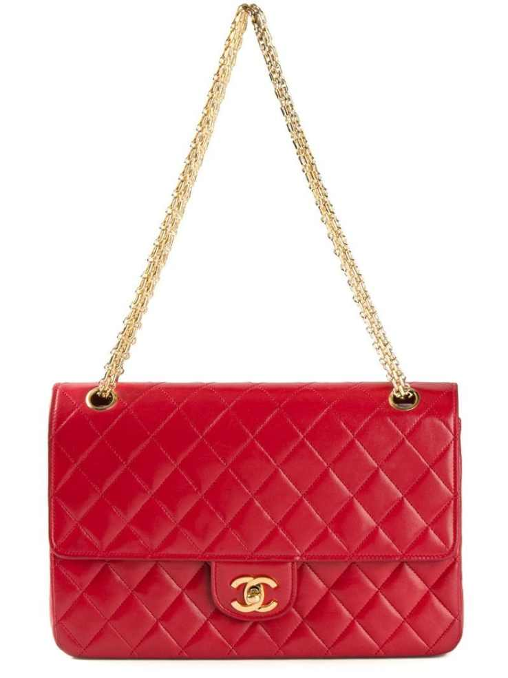 CHANEL VINTAGE red quilted shoulder bag
