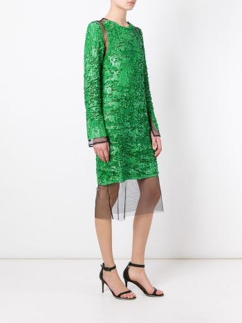 Emilio Pucci sequin dress in the color of the summer parakeet green