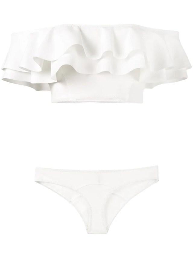 Lisa Marie Fernandez White Mira Ruffle Bandeau Bikini, 547.0