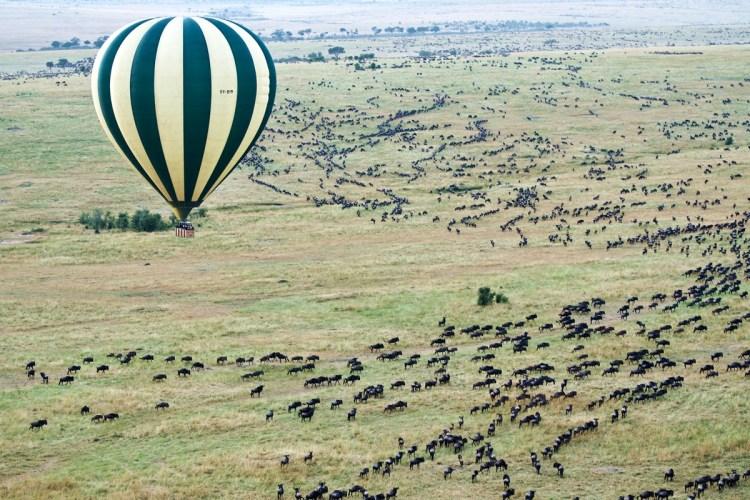 Hot-air balloon safari over the Masai Mara National Reserve