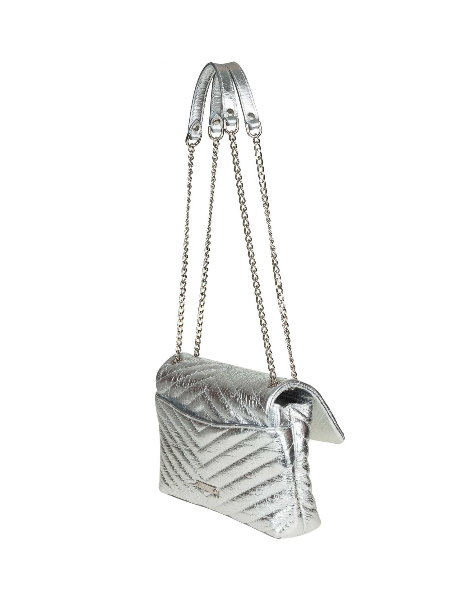 Rebecca Minkoff Rebecca Minkoff Eflap Bag In Laminated Leather Color Silver