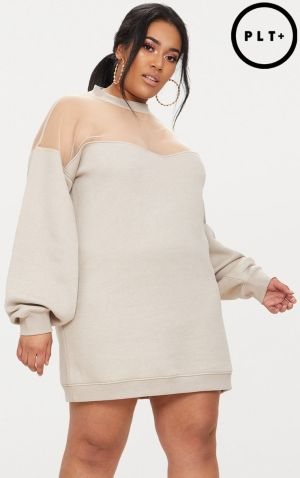 Plus Stone Oversized Mesh Panel Sweater Dress