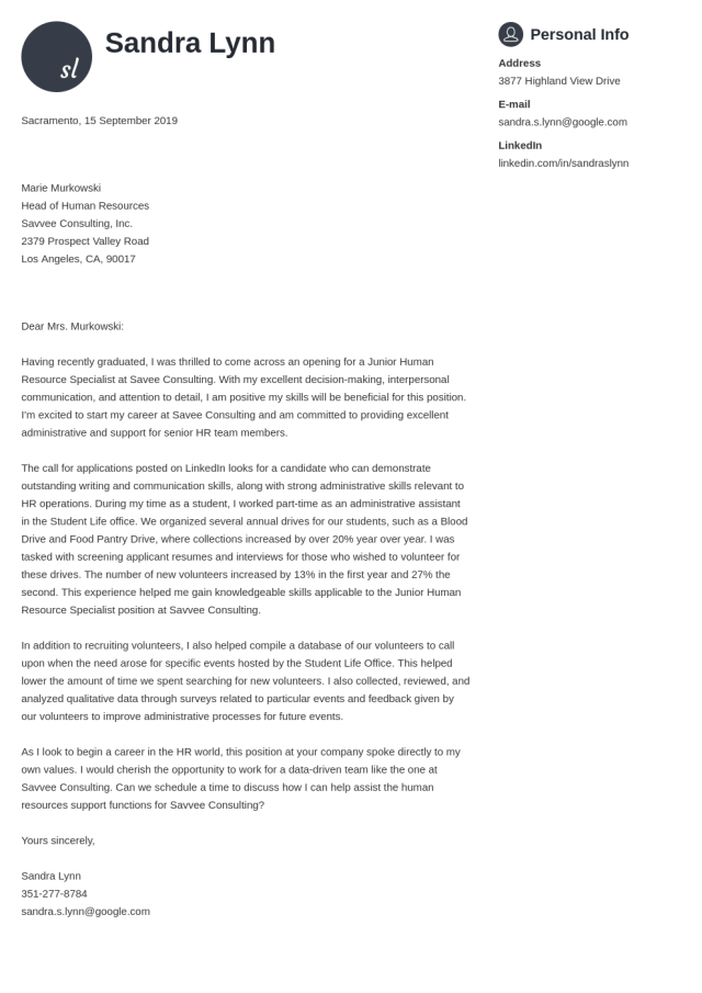 Human Resources Cover Letter: Examples & Ready-To-Use Templates