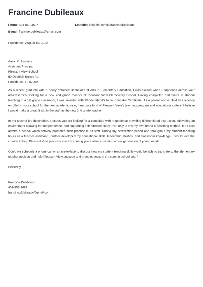 Teacher Cover Letter Examples Templates Ready To Use Copy
