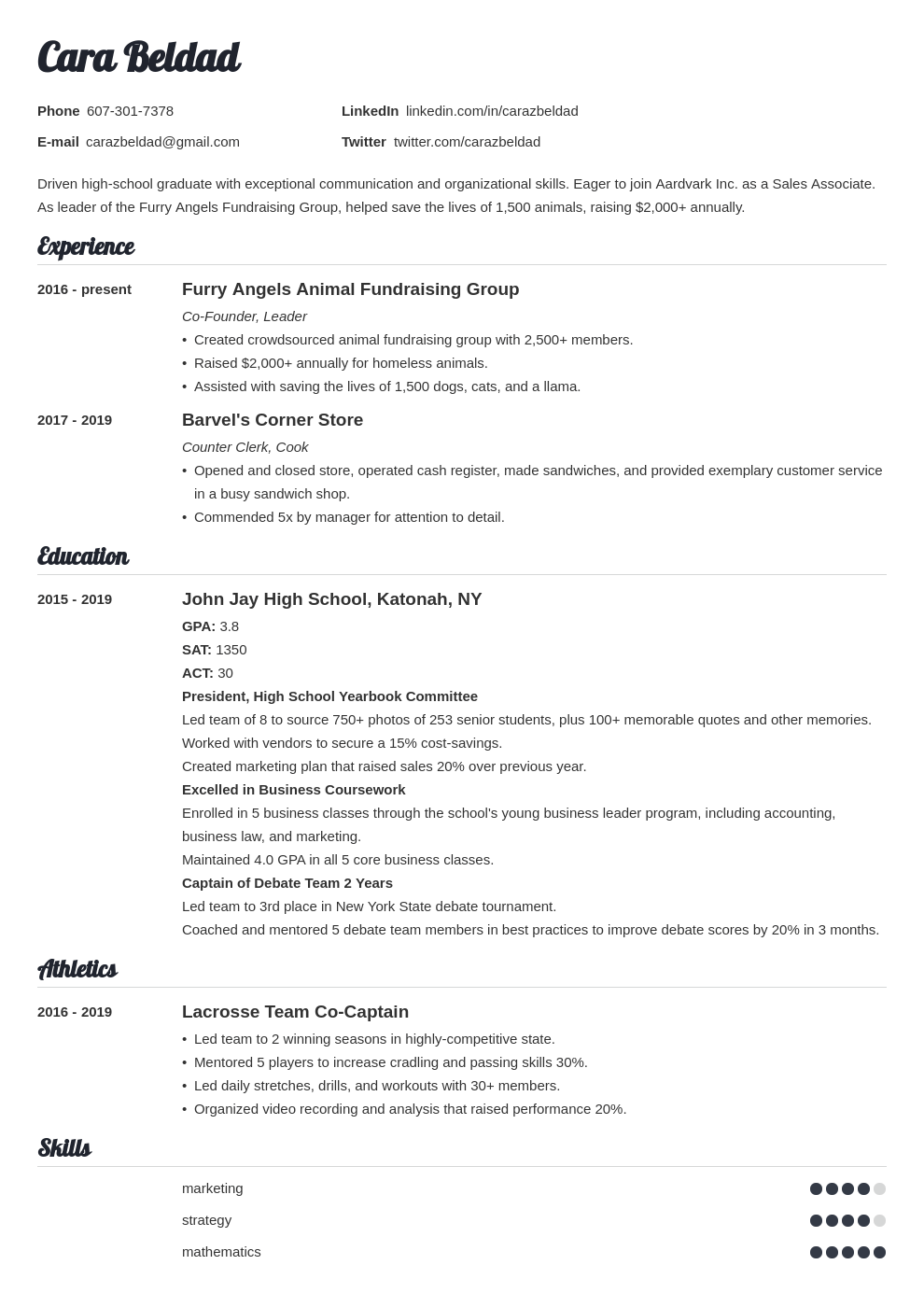 Resume is, in reality, an strategy to market your own image. High School Graduate Resume Example With No Experience