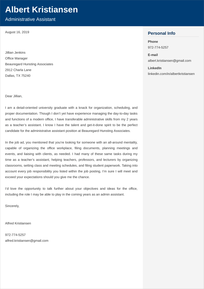 Administrative Assistant Cover Letter Examples Ready Templates