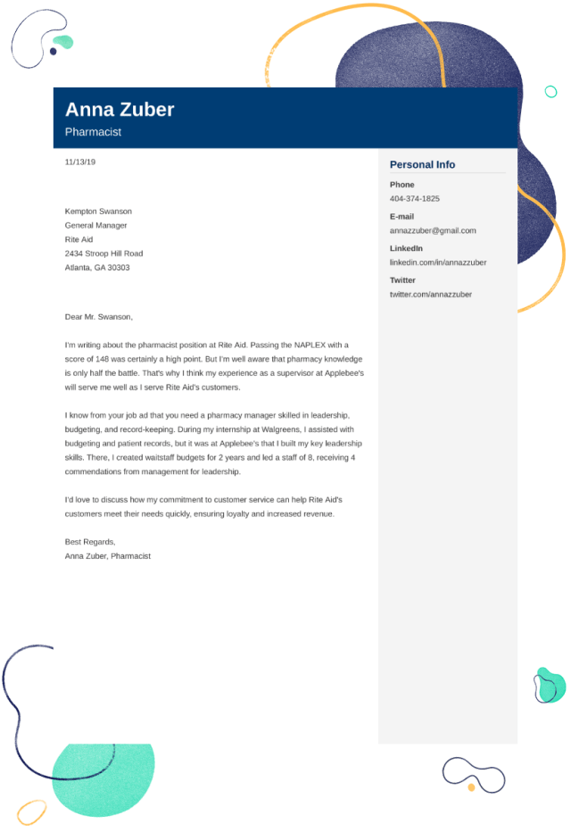 Pharmacist Cover Letter: Examples & Ready-to-Use Templates