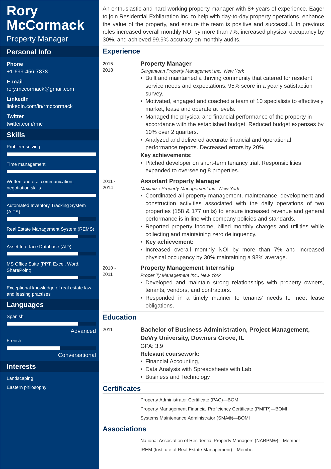 Property Manager Resume Sample 25 Examples And Writing Tips