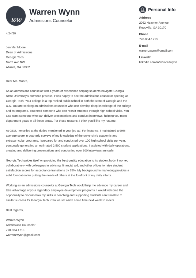 Admissions Counselor Cover Letter Examples & Writing Guide