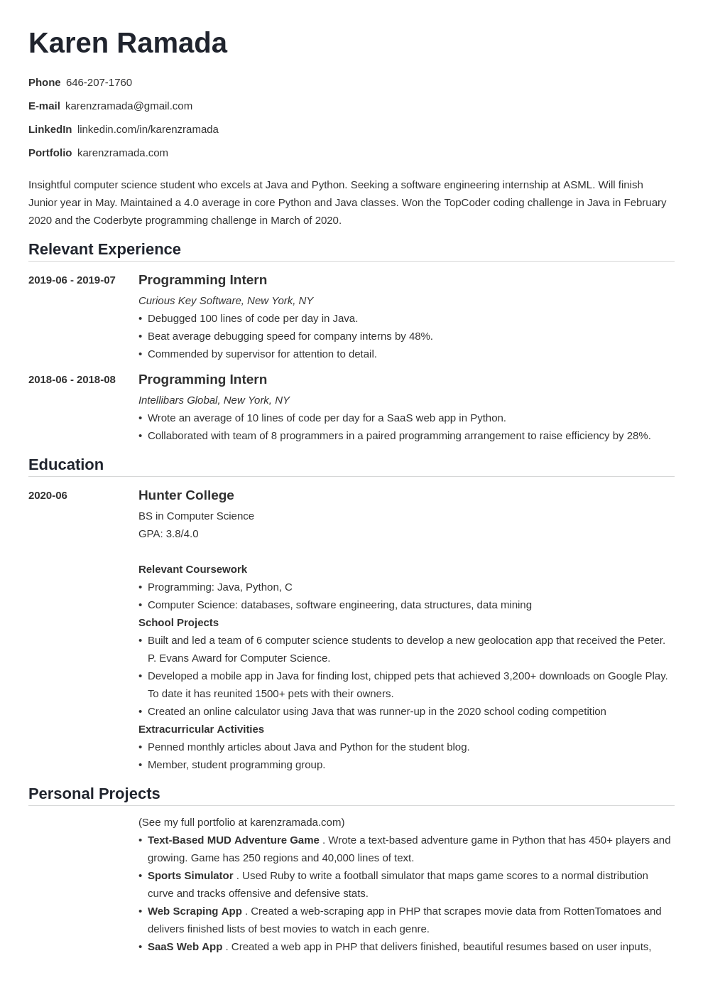 Technology is helpful until it fails. Computer Science Internship Resume Template For Students In 2021