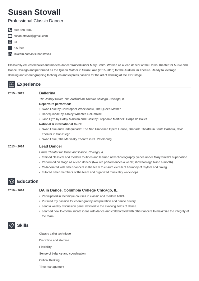 Dance Resume Template (Professional Examples & Guide)