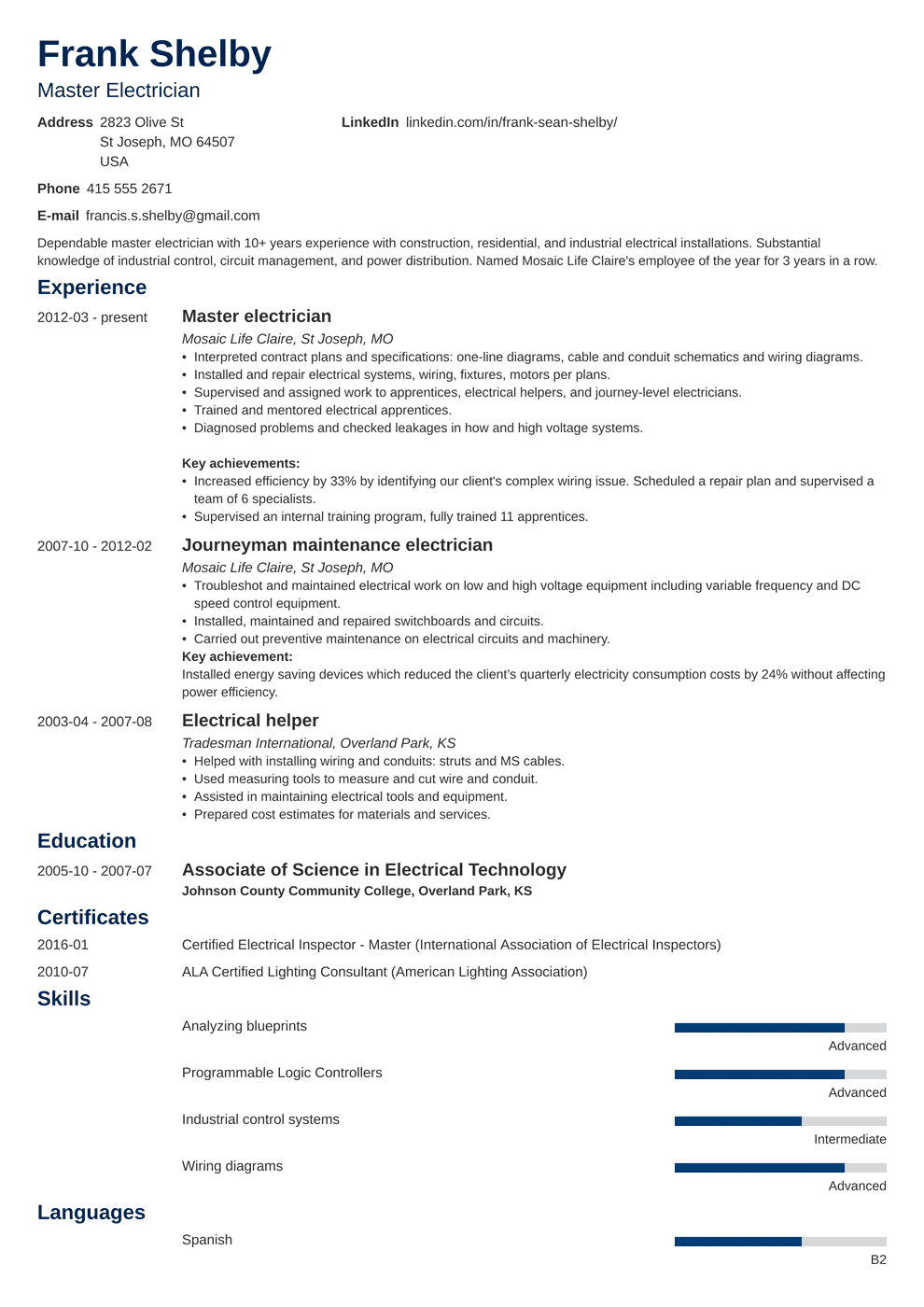 An example of a resume with common format with the name john doe. Electrician Resume Examples Apprentice Journeyman Master