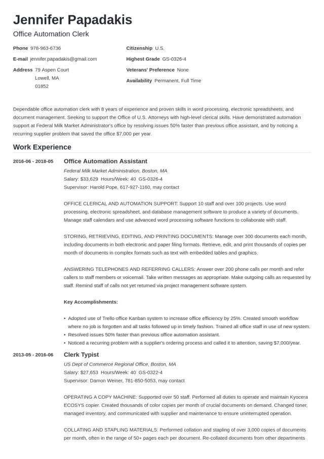 5 Federal Resume Template & Format [5+ Examples]