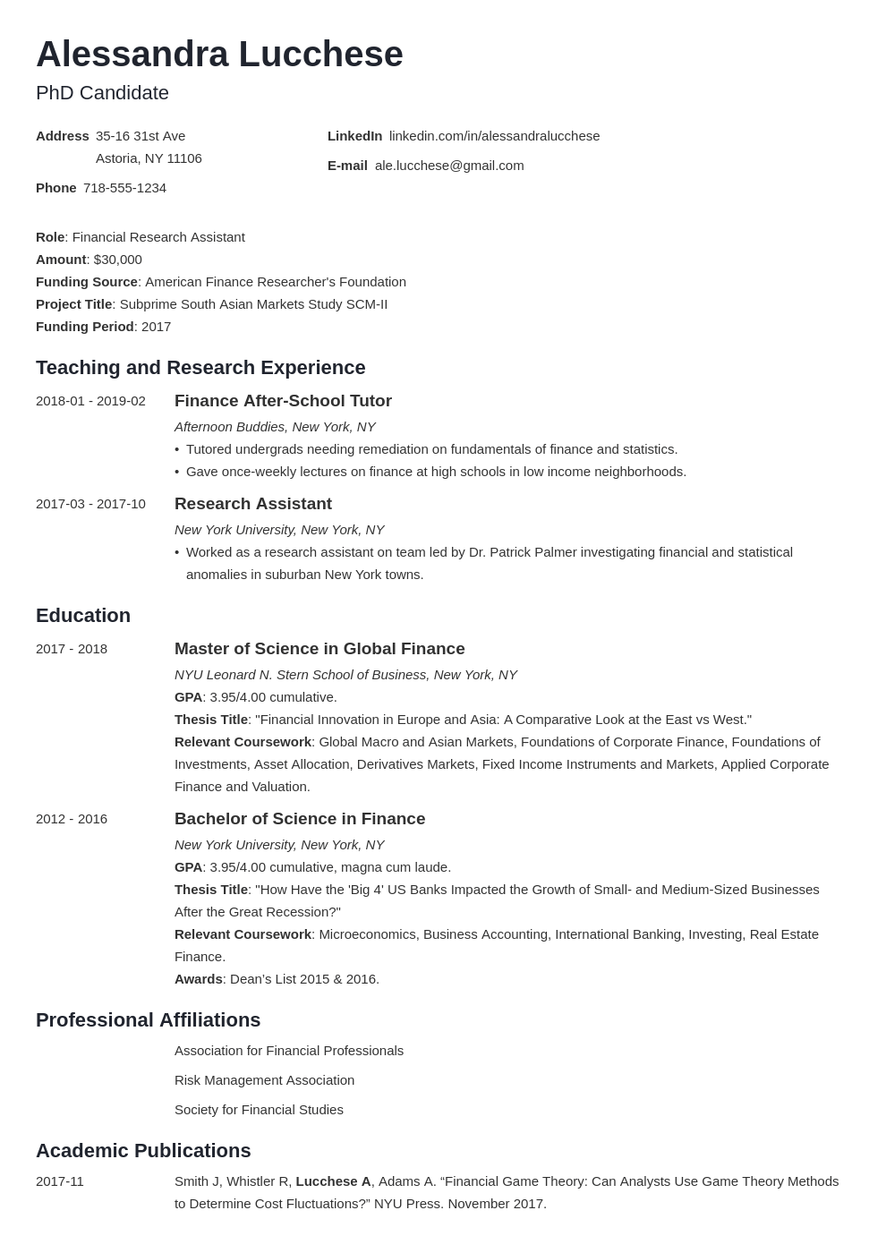 Our nation's educators help shape the next generation. Resume For Graduate School Application Template Examples