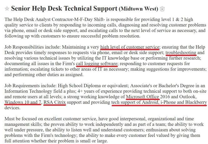 help_desk_resume_job_description Job For Yst on