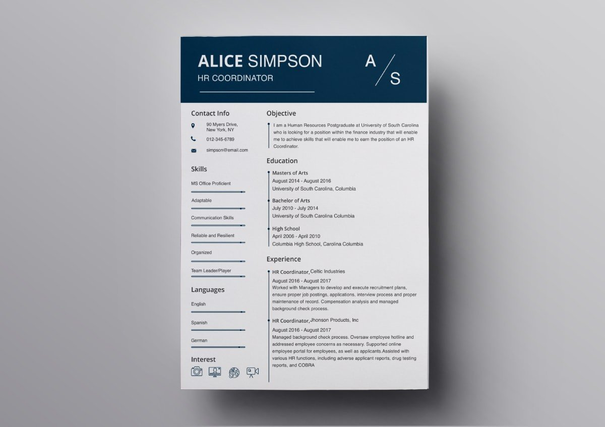 Free apple pages resume template with minimalist design for your next job opportunity. Pages Resume Templates 10 Free Resume Templates For Mac