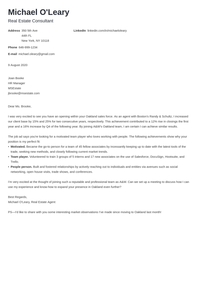 Real Estate Cover Letter Sample (for Agent, Analyst, Assistant)