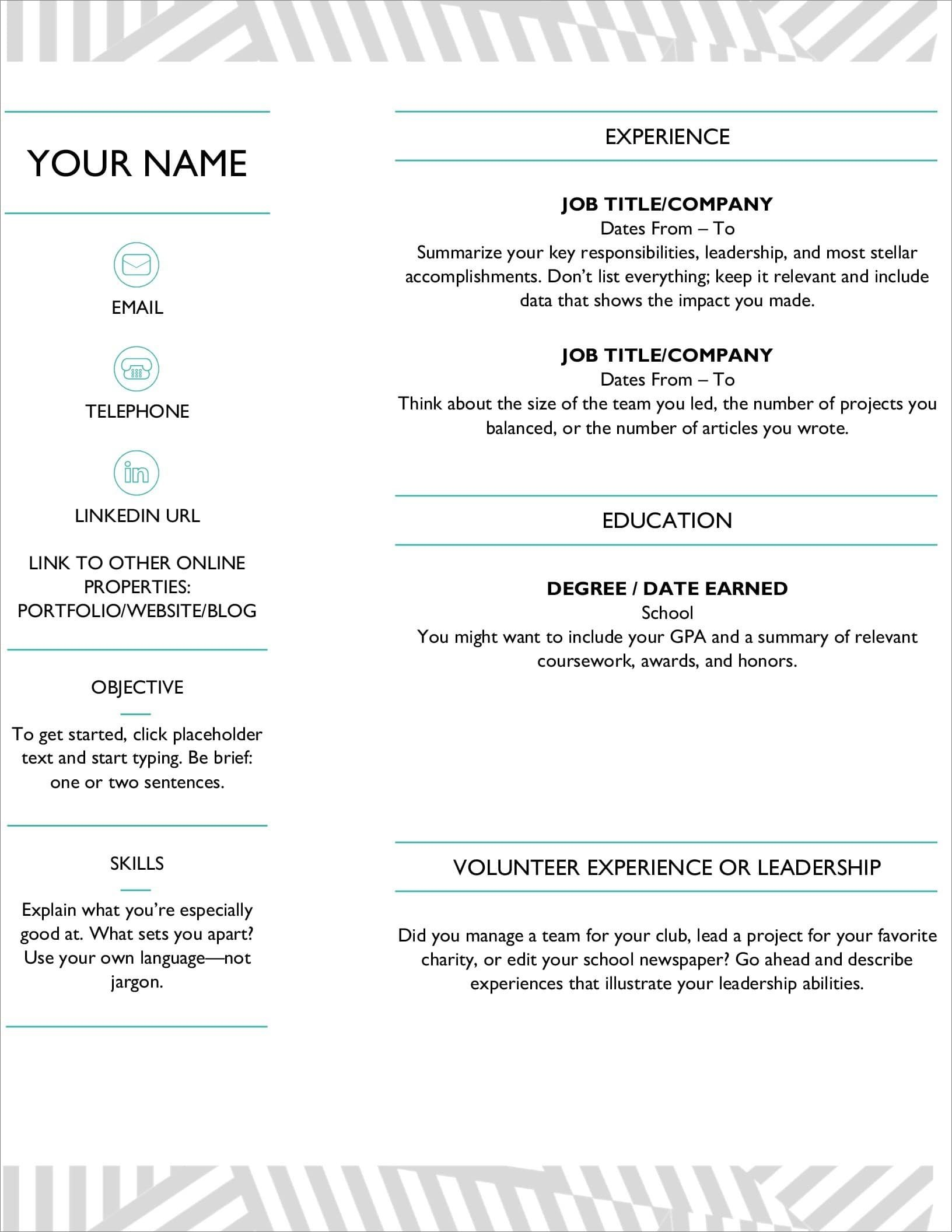 This is an accessible template. 25 Resume Templates For Microsoft Word Free Download