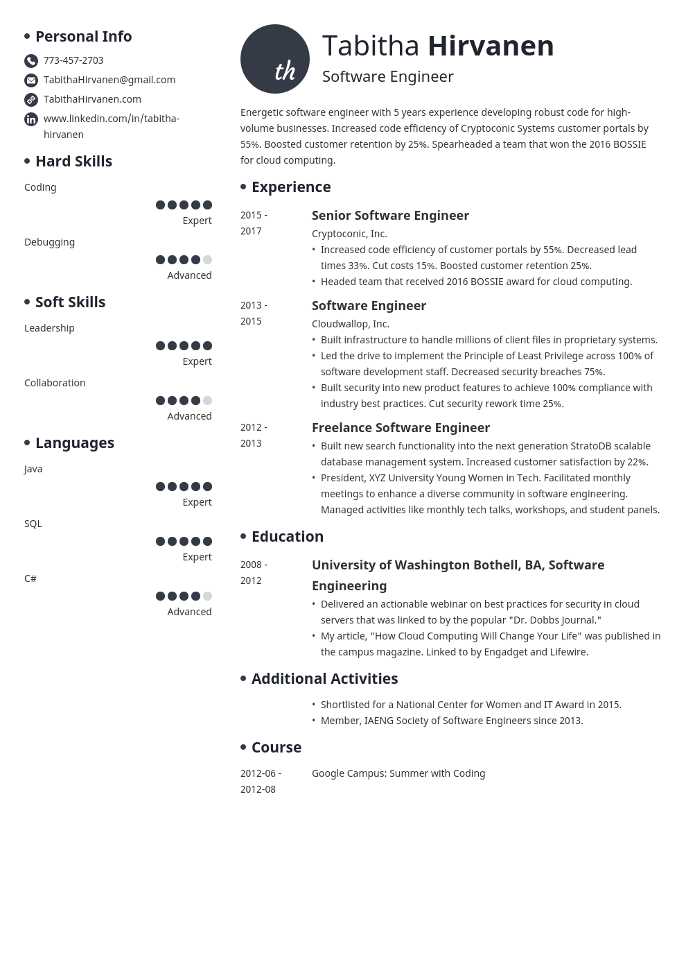So try one of these html resume templates that will show off your talents and skills. Software Engineer Resume Examples Tips Template