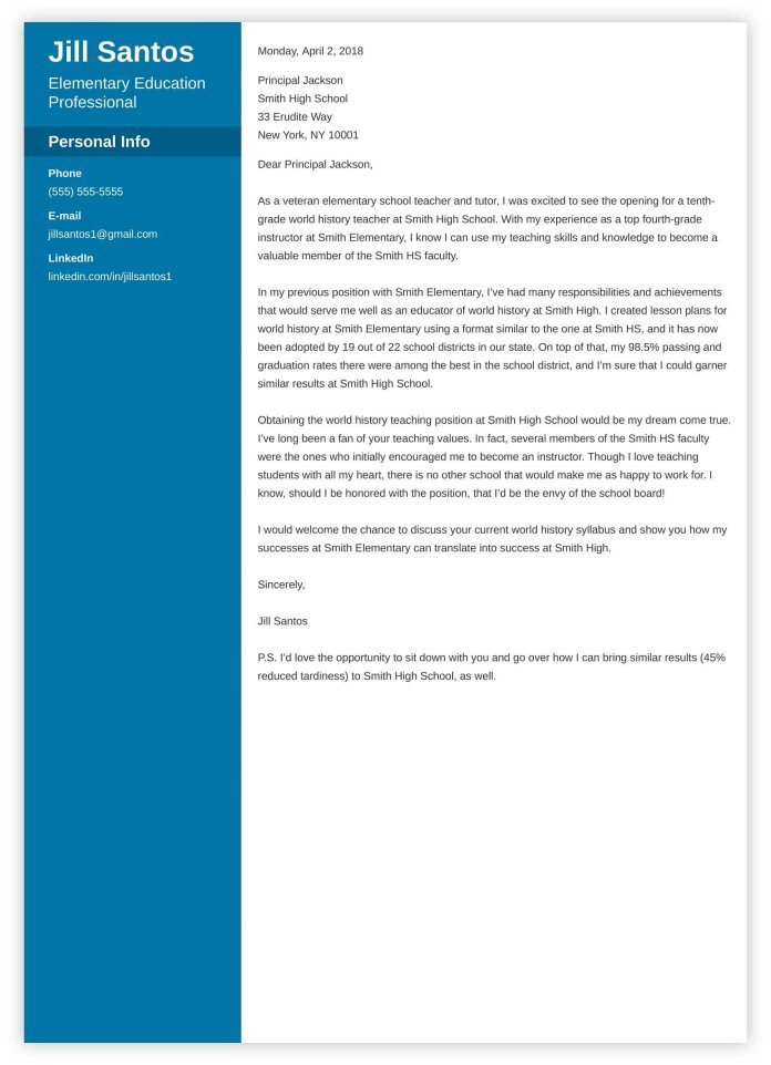 Teacher Cover Letter Examples Teaching Positions Education