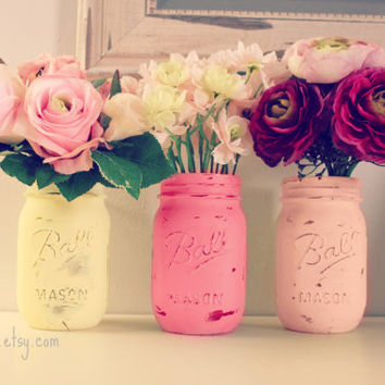 Pink Lemonade Decor 3 Painted Mason Jars Wedding Centerpiece D