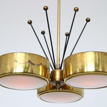 Gerald Thurston Brass Chandelier For Lightolier Mid Century Retro Vintage 50s 60s Era