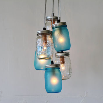 Lake Fog Mason Jar Chandelier Featuring 3 Frosted Blue Clear Jars Direct Hardwire