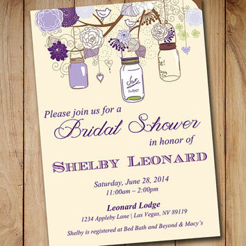 Rustic Bridal Shower Invitation Template Mason Jar Wedding Eggplant Lavender Purple Green Ivory
