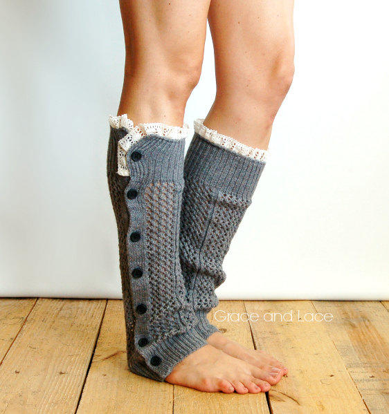 Nellie Knit Mid Grey Open Weave Button From Grace And Lace