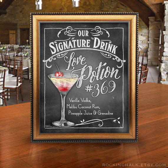 Sweet Signature Drink Signs Chalkboard From RockinChalk
