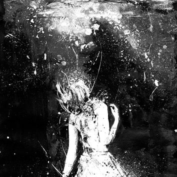 Shop Sad Paintings on Wanelo Mermaid  Black And White Art  Art Print  Drown  Girl In Water