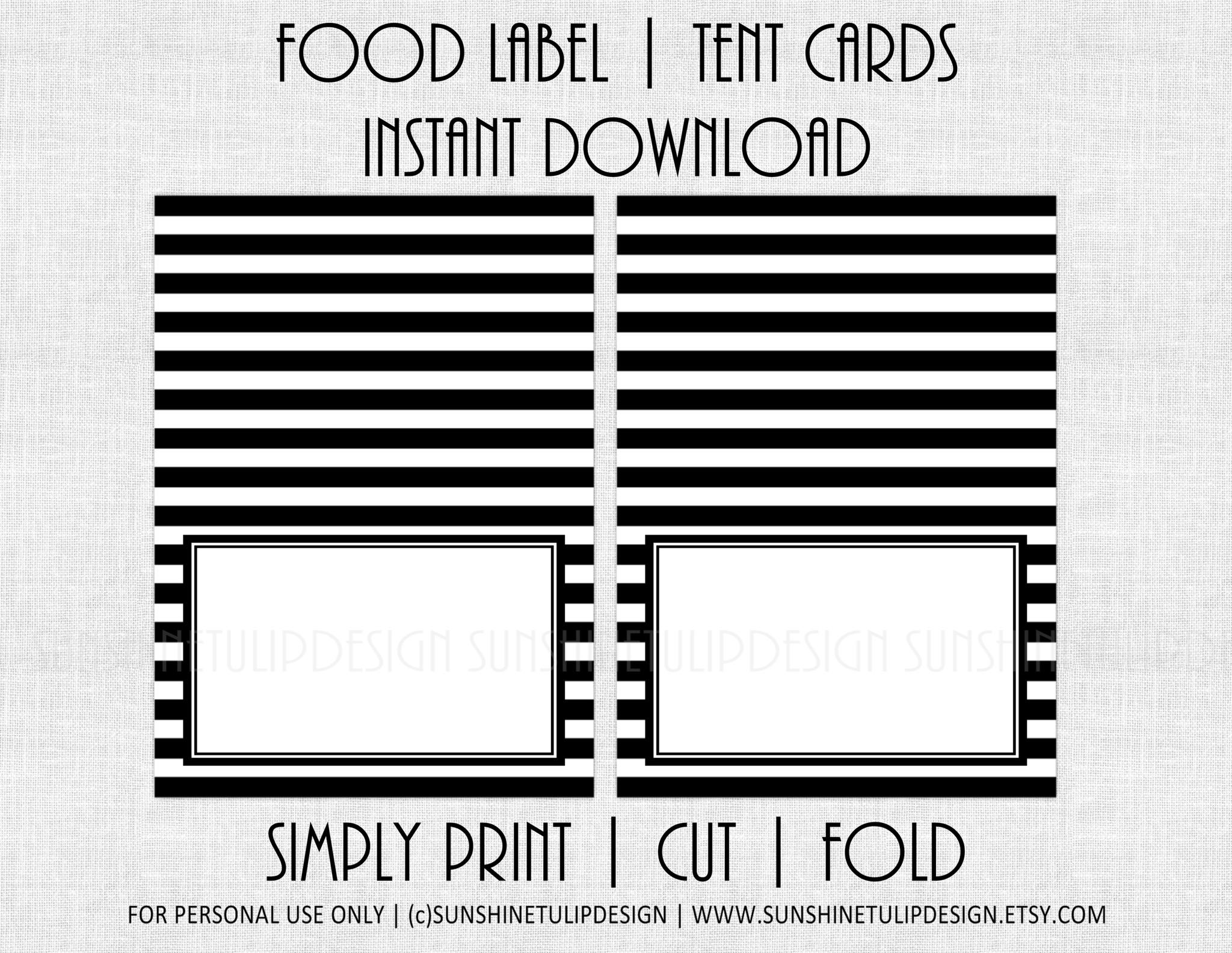 Printable Food Label Tent Cards Black Amp From