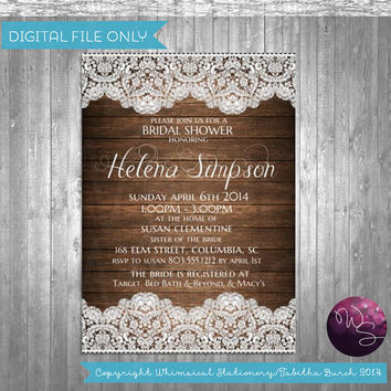 Bridal Shower Invitation Rustic Wood Lace Printable File Only Wedding