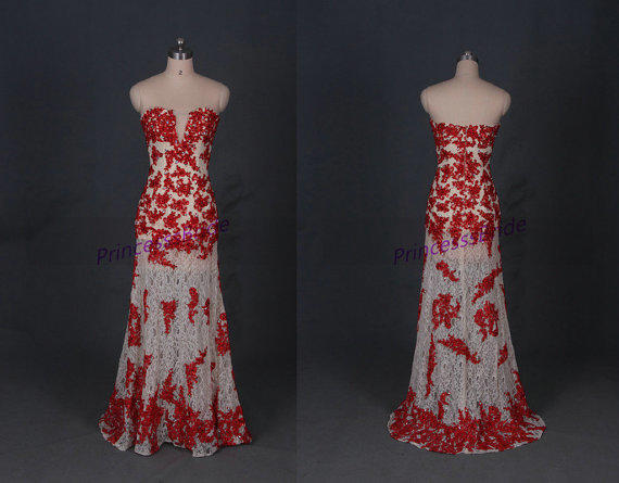 2014 Long Champagne Red Lace Prom Dress From PrincesssBride On